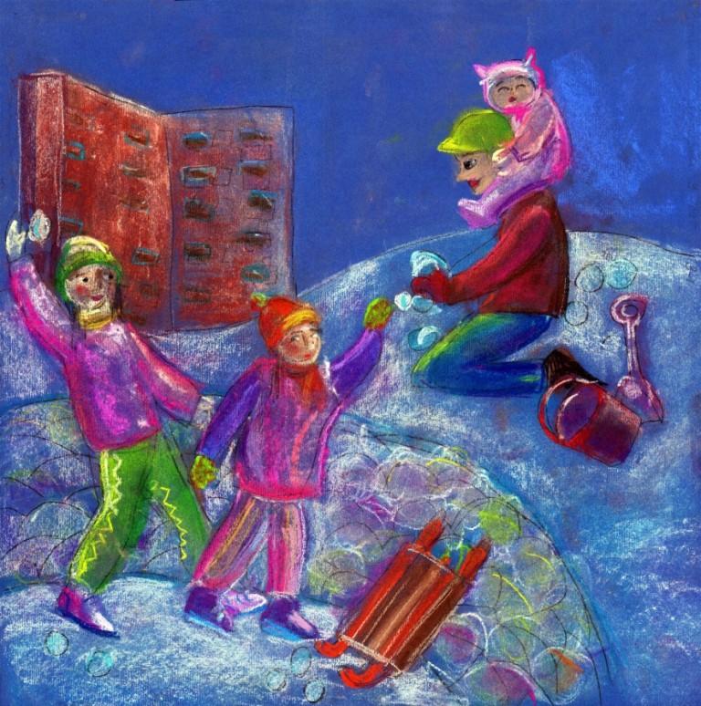 Павлова Злата, 9 лет, АНО «Студия Контур», г.Новосибирск, «А вы любите играть в снежки?»